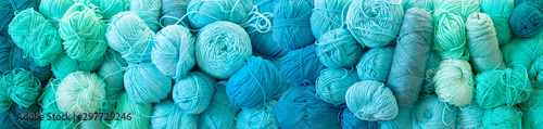 Photo Yarn of green, turquoise, aquamarine and blue colors