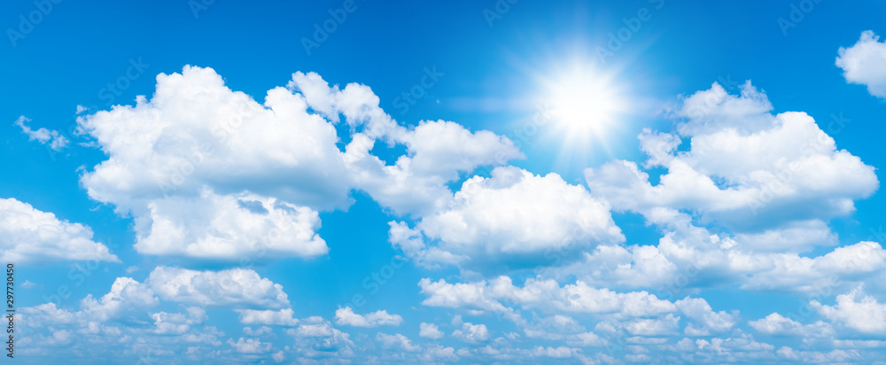 Fototapety, obrazy: Beautiful blue sky with white clouds and sun