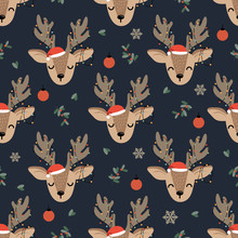 Christmas Seamless Pattern With Reindeer Background, Winter Pattern With Deer And Decoration Lights, Wrapping Paper, Pattern Fills, Winter Greetings, Web Page Background, Christmas And New Year