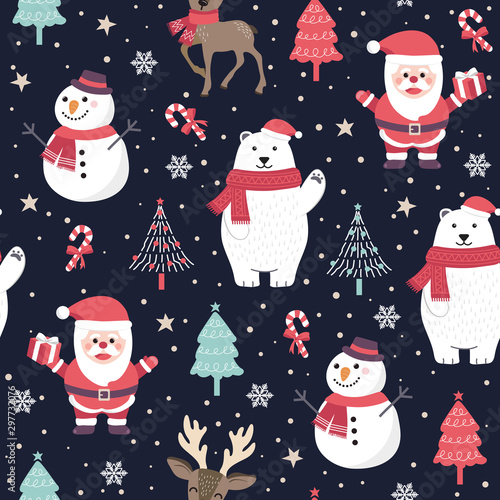 plakat Christmas seamless pattern with santa and polar bear background, Winter pattern with reindeer, wrapping paper, pattern fills, winter greetings, web page background, Christmas and New Year