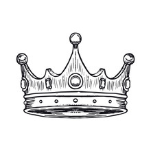 Luxury Crown Hand Drawn. Vector Illustration Isolated On White Background. Vector