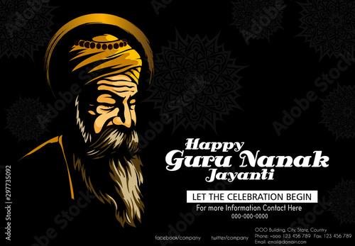 Pinturas sobre lienzo  illustration of Happy Gurpurab, Guru Nanak Jayanti festival of Sikh celebration