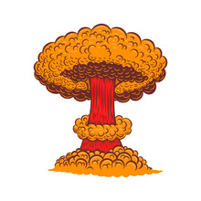 Illustration Of Atomic Bomb Explosion In Comic Style. Design Element For Poster, Card, Banner, Sign, Flyer.Vector Illustration