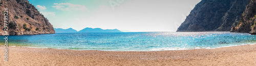 Turkeys Butterfly Valley sea beach holiday vacation background concept. Panorama