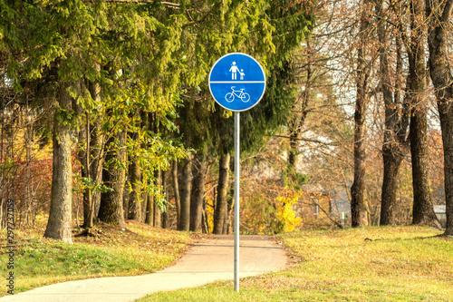 Bike path and a pedestrian in the park