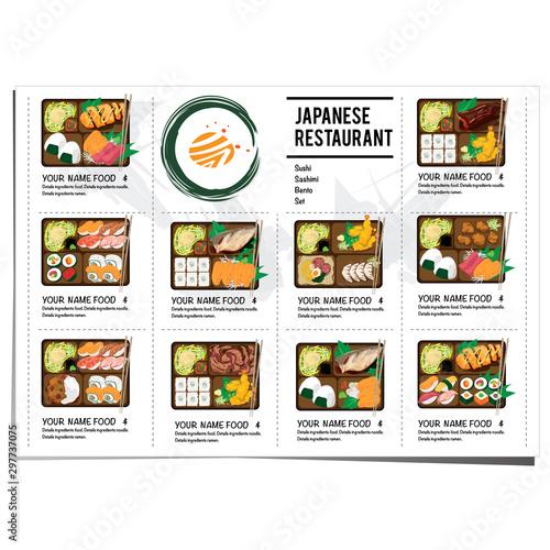 bento sushi set japanese food restaurant menu template design graphic Wallpaper Mural