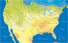 Fictional Map Of The Usa Temperature Barometric Pressure Wind Speed Wind Direction