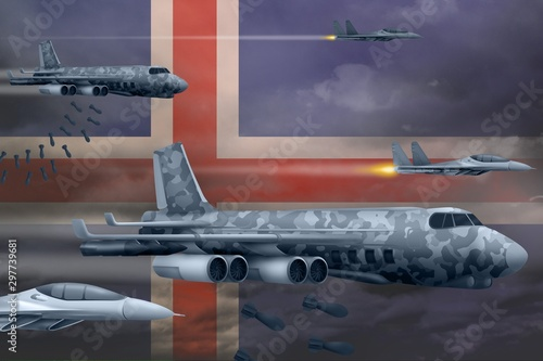 Papiers peints Avion, ballon Iceland air forces bombing strike concept. Iceland army air planes drop bombs on flag background. 3d Illustration