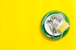 canvas print picture - Washing dishes concept. Plates, spoons, forks on yellow background top view copy space