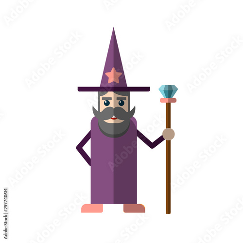 Photo Vector flat illustration of cute wisard or witcher in flat style