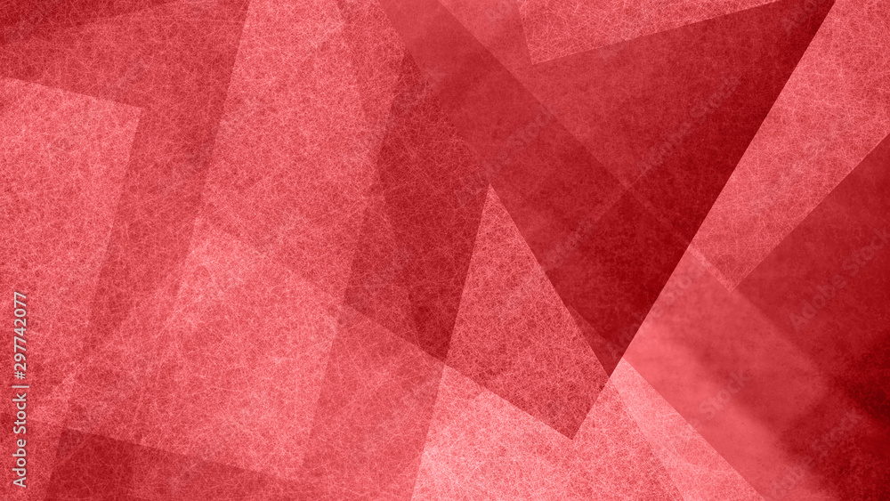 Fototapety, obrazy: Abstract red and white background with geometric diamond and triangle pattern. Elegant Christmas color with textured light shapes and angles in modern contemporary design.