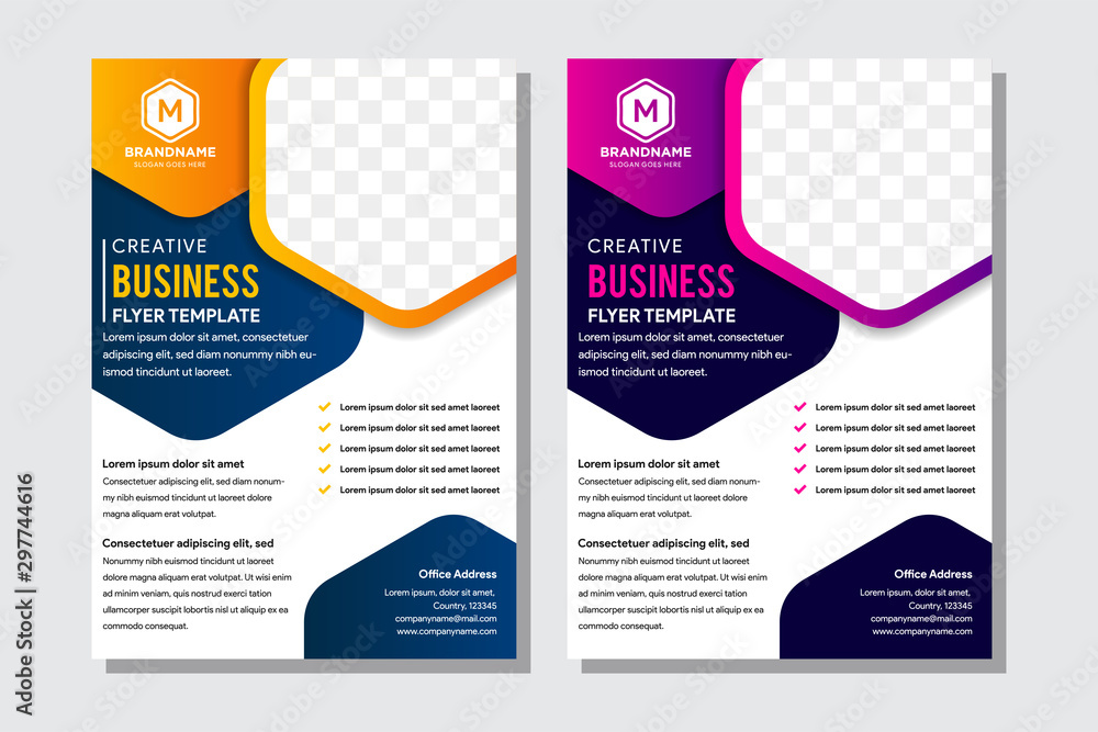 Fototapety, obrazy: Blue, orange and purple color hexagon photo collage annual report Leaflet Brochure Flyer template design, book cover layout design, abstract business presentation template, a4 size design