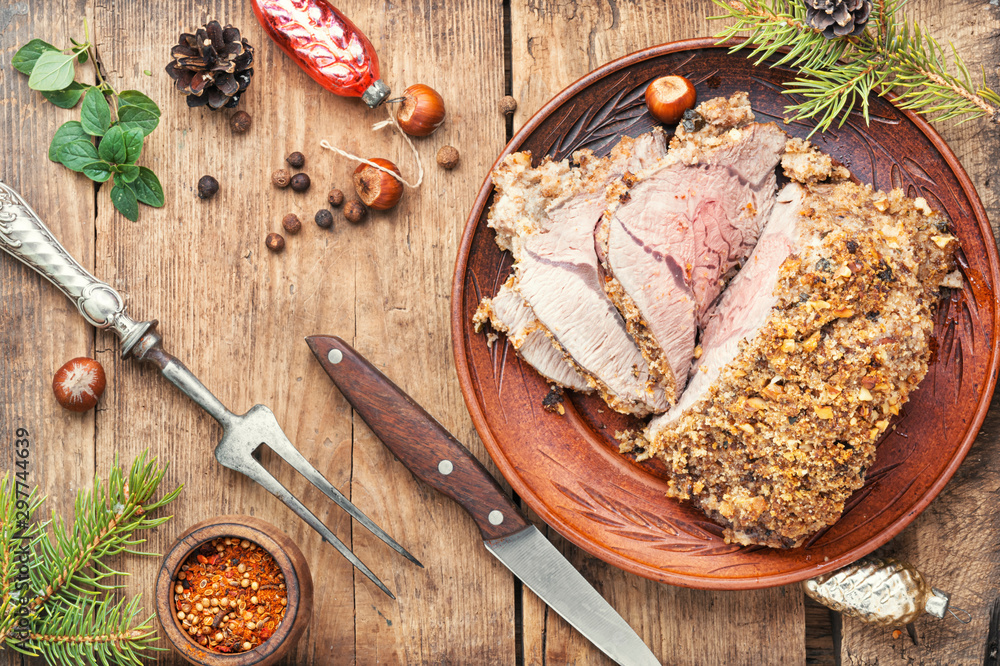 Fototapety, obrazy: Roasted beef for Christmas