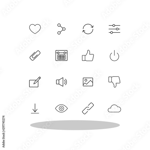 Photo Basic icon set in flat style