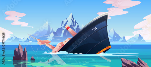 Shipwreck accident, ship run aground sinking in ocean, vessel going under water surface on seascape background with rocks, mountains and cloudy sky, marine transport crash Wallpaper Mural