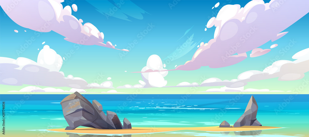 Fototapeta Ocean or sea beach nature landscape with fluffy clouds flying in sky and rocks sticking up from sand in coastline. Morning or day time summer tranquil seascape background, Cartoon vector illustration