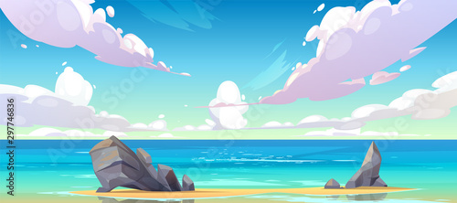 Poster Purper Ocean or sea beach nature landscape with fluffy clouds flying in sky and rocks sticking up from sand in coastline. Morning or day time summer tranquil seascape background, Cartoon vector illustration