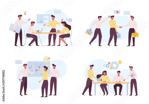 Fotomural  Successful coworking, teamwork flat vector illustrations set