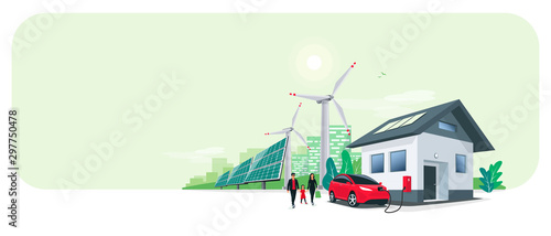 Fotomural Family battery electric car charging at home charger station renewable energy storage with wind solar panels power station and city skyline