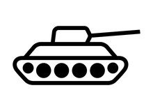 Military Tank Weapon For Warfare Line Art Vector Icon For Games And Websites
