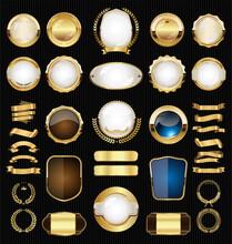 Golden Retro Sale Badges And L...
