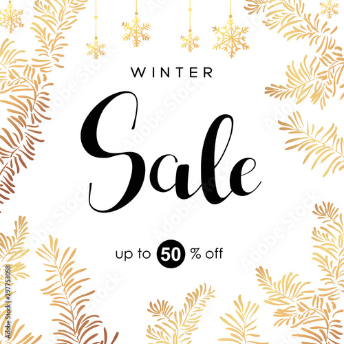Fototapeta Winter sale vector poster with discount text and snow elements for shopping promotion. obraz