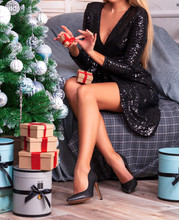 Woman Holds A Small Christmas ...