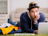 Man planning his vacation trip with map