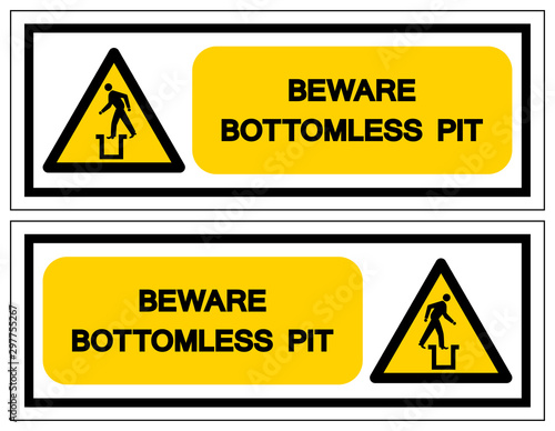 Beware Bottomless Pit Symbol Sign,Vector Illustration, Isolate On White Background Label Canvas-taulu