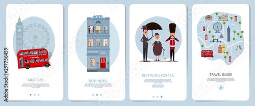 Obraz Mobile app onboarding screens set. London Travel guid, landmark, city map, rent hotel. Menu vector banner template for website and mobile development. Web site design flat illustration. - fototapety do salonu