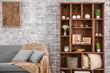 Leinwanddruck Bild - Interior of modern room with brick wall