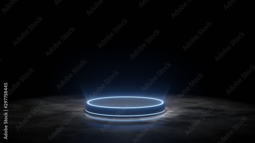 Fototapety, obrazy: 3D Rendering of futuristic podium. Blank pedestal for product display with glowing ray light and reflection on dark granite floor