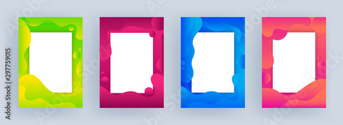 Fotomural  Template or flyer design with space for your message on different color fluid art abstract background in four option