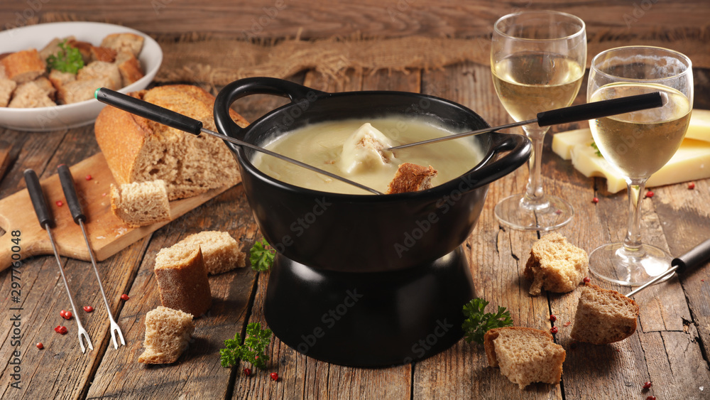 Fototapety, obrazy: cheese fondue with wine and bread, top view