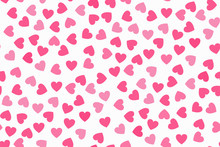 Abstract Seamless Pattern With Pink Hearts On White Background. Universal Print.
