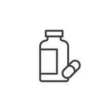 Pills Bottle Line Icon. Linear Style Sign For Mobile Concept And Web Design. Capsule Medicine Bottle Outline Vector Icon. Drugstore Symbol, Logo Illustration. Vector Graphics