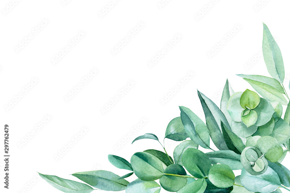 Fototapety, obrazy: greeting card with place for text, eucalyptus leaves on a white background, watercolor illustration