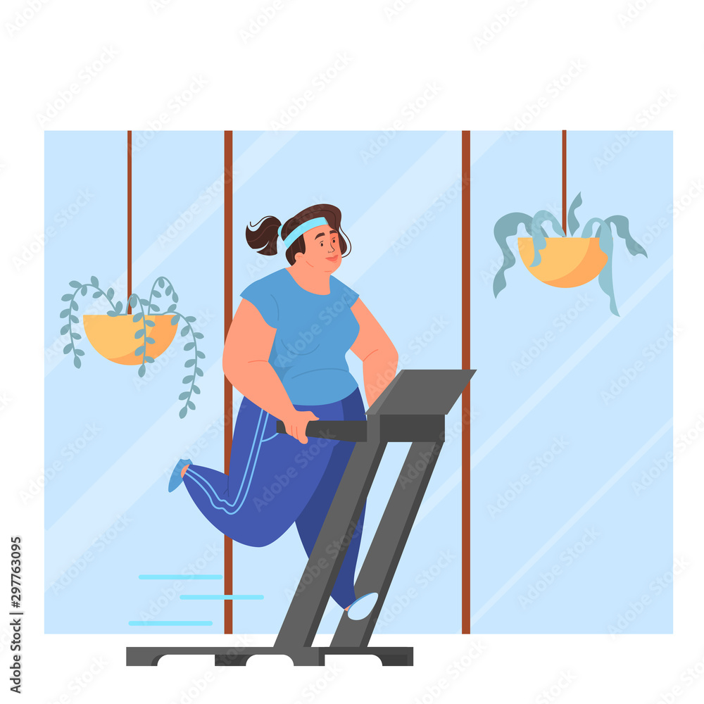 Fototapety, obrazy: Fat woman running on a treadmill, doing exercise