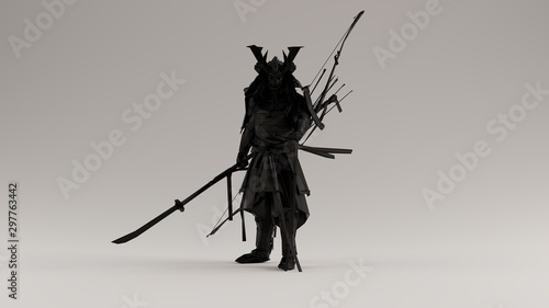 Fotografía Black Samurai made out of Polygon Triangles with a Lattice Frame 3d illustration