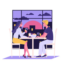 Romantic Couple Sitting In Cafe Having A Date