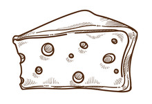 Wine Appetizer, Cheese With Holes Isolated Sketch, Dairy Product