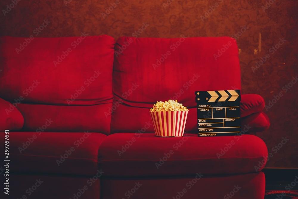 Fototapety, obrazy: red sofa in cinema