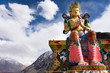 Leinwanddruck Bild - Hight 32 metre colorful and beauty statue of Maitreya Buddha near Diskit Monastery for foreign travelers and tibetan with indian people travel visit praying at Leh Ladakh in Jammu and Kashmir, India
