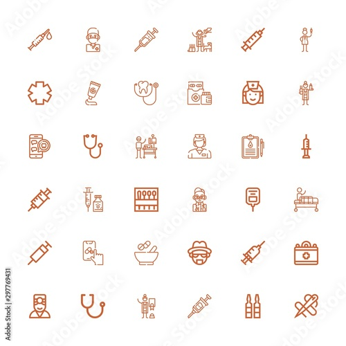 Editable 36 nurse icons for web and mobile Wallpaper Mural