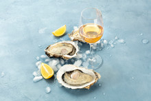 Fresh Raw Oysters On Ice With ...