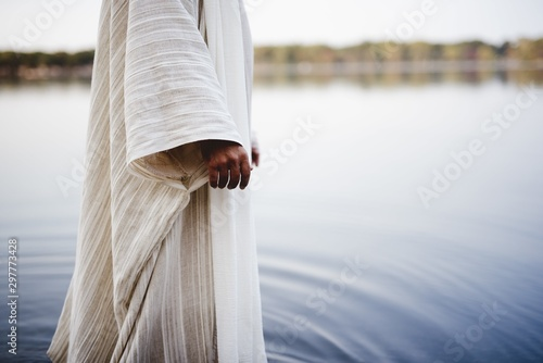 Tela Biblical scene - of Jesus Christ walking in the water with a blurred background
