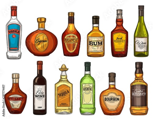 Fotografia Alcohol drink isolated vector bottles