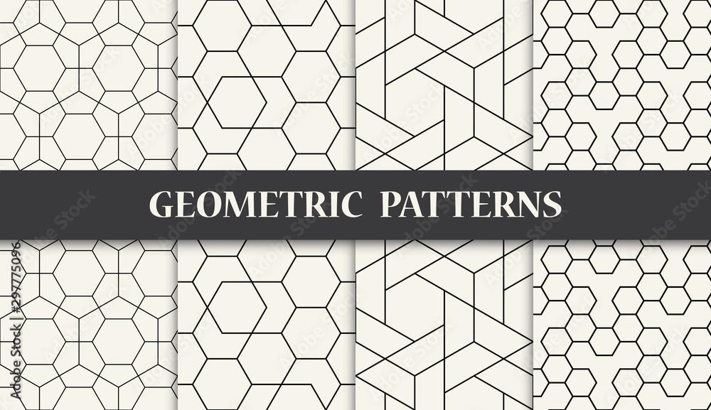 Fototapeta black and white geometric pattern set