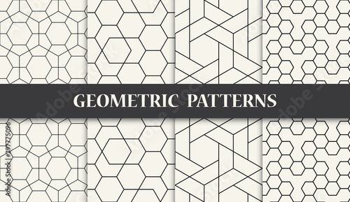 Fototapeta black and white geometric pattern set obraz
