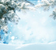Snowfall in winter forest.Beautiful landscape with snow covered fir trees and snowdrifts.